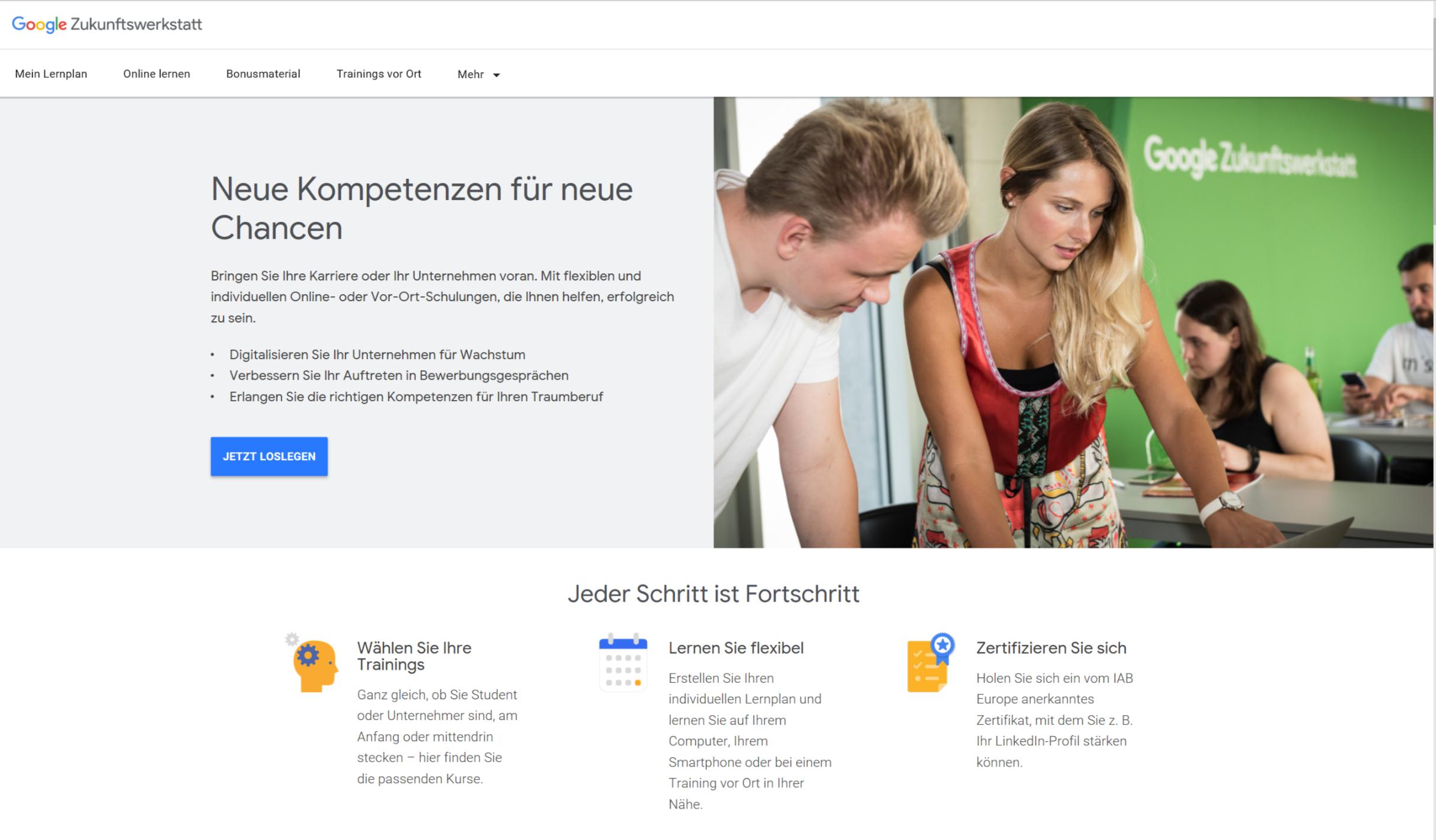 smyle Webdesign-Erfahrungen mit der Google Zukunftswerkstatt-Startseite-Dashboard