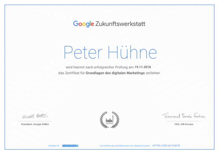 smyle Webdesign-Erfahrungen mit Google Zukunftswerkstatt-Blog-Zertifikat Peter Hühne
