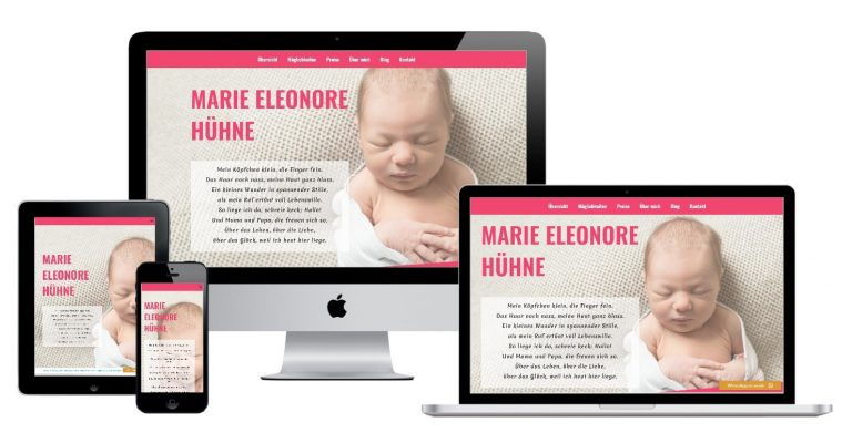 New Born Baby Website for birth wishes - Möglichkeiten mit WordPress by smyle webdesign
