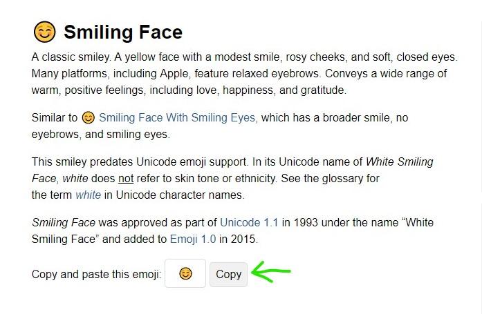 emojipedia source for Emojis in Google-Beschreibung