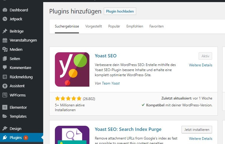 Plugin Yoast for SEO WordPress Plug-Emojis in Google-Beschreibung