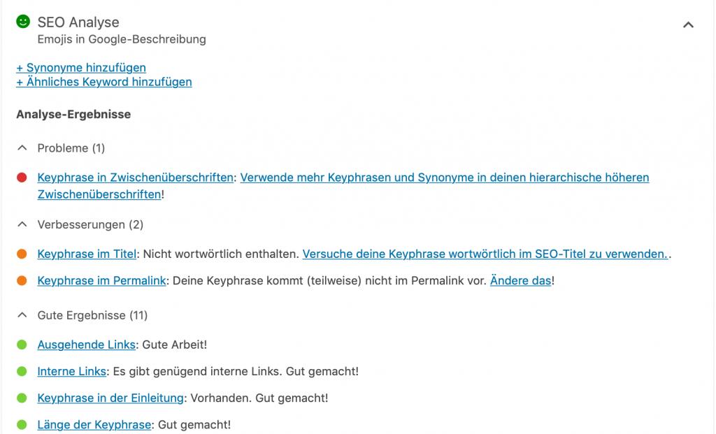 SEO-optimierte Texte: SEO-Analyse_Yoast. Anzeige Verbesserungsvorschläge und Problemen.